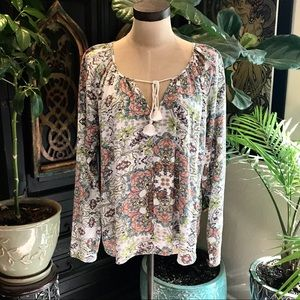 Lovetstitch floral tassel tie boho peasant top